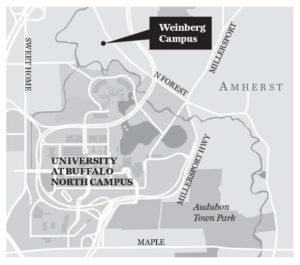Map shows Weinberg Campus in Amherst